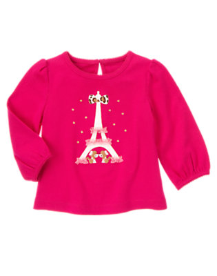 Chic Pink Ruffle Eiffel Tower Poodles Tee by Gymboree