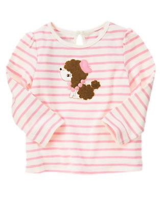 Poodle Pink/Ivory Stripe Poodle Stripe Tee by Gymboree