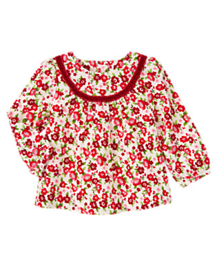 Ivory Floral Ribbon Flower Corduroy Top by Gymboree