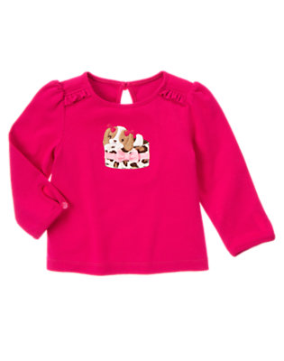 Chic Pink Bow Puppy Ruffle Tee by Gymboree