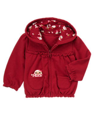 Toddler Girls Cranberry Red Owl Hoodie by Gymboree