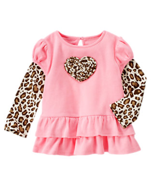 Poodle Pink Leopard Heart Double Sleeve Ruffle Top by Gymboree
