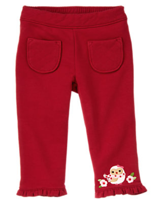 Cranberry Red Flower Owl Knit Pant by Gymboree