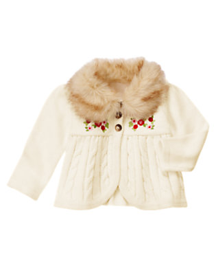 Toddler Girls Winter Ivory Faux Fur Collar Sweater Cardigan by Gymboree