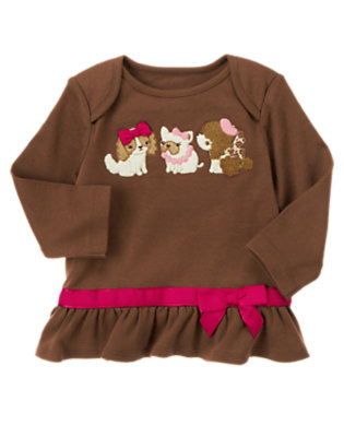 Coco Brown Puppy Friends Bow Top by Gymboree