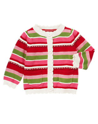 Toddler Girls Cozy Pink Stripe Stripe Sweater Cardigan by Gymboree