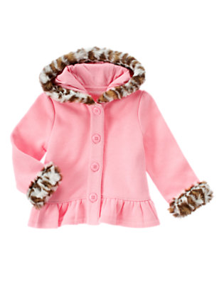 Toddler Girls Poodle Pink Faux Leopard Fur Fleece Hoodie by Gymboree