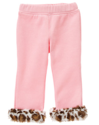 Toddler Girls Poodle Pink Faux Leopard Fur Fleece Pant by Gymboree