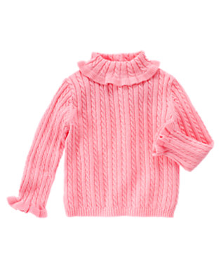 Poodle Pink Cable Turtleneck Sweater by Gymboree