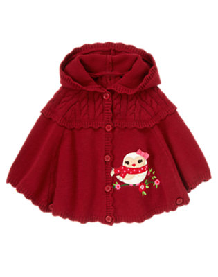 Toddler Girls Cranberry Red Owl Hooded Sweater Cape by Gymboree