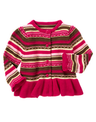 Toddler Girls Chic Pink Fair Isle Fair Isle Sweater Cardigan by Gymboree