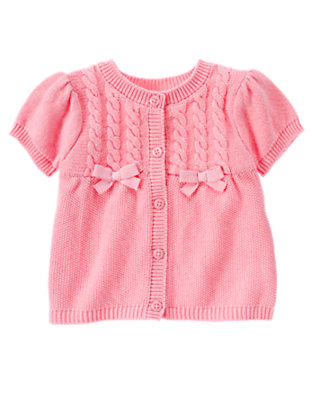 Poodle Pink Bow Cable Sweater Cardigan by Gymboree