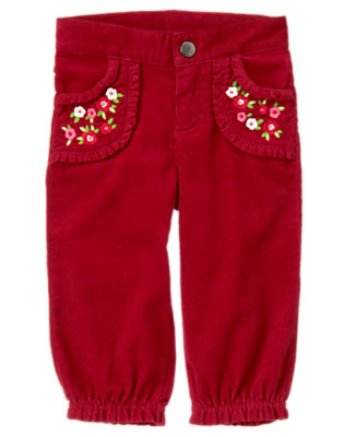 Toddler Girls Cranberry Red Flower Corduroy Ruffle Cuff Pant by Gymboree