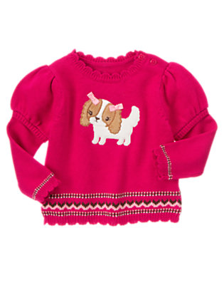 Toddler Girls Chic Pink Bow Puppy Double Sleeve Sweater by Gymboree