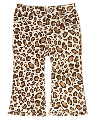 Toddler Girls Ivory Leopard Leopard Corduroy Pant by Gymboree