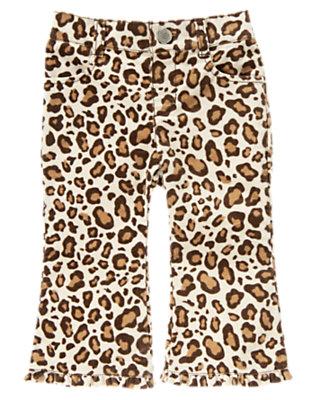 Ivory Leopard Leopard Corduroy Pant by Gymboree