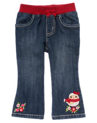 Denim Owl Flower Jean by Gymboree