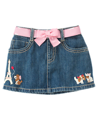 Denim Paris Puppies Bow Jean Skirt by Gymboree