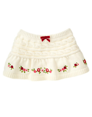 Toddler Girls Winter Ivory Flower Cable Sweater Skirt by Gymboree