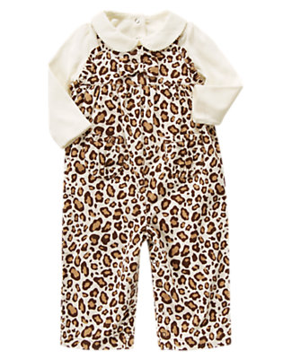 Toddler Girls Ivory Leopard Leopard Corduroy Overall Two-Piece Set by Gymboree