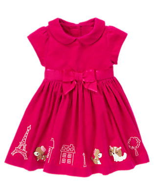 Toddler Girls Chic Pink Parisian Puppies Corduroy Dress by Gymboree