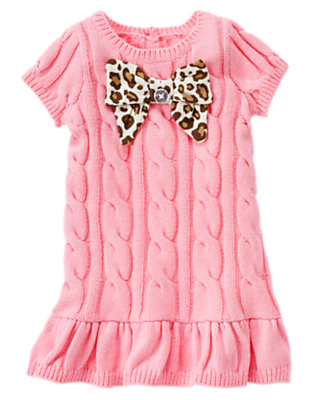 Poodle Pink Leopard Bow Cable Sweater Dress by Gymboree