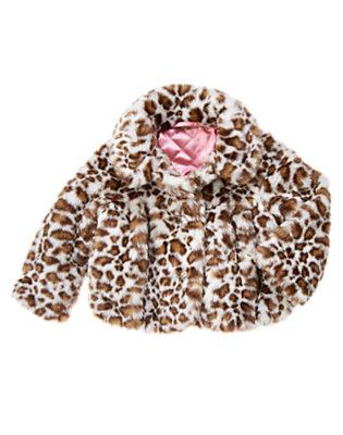 Ivory Leopard Faux Leopard Fur Coat by Gymboree