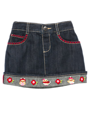 Denim Embroidered Owl Jean Skirt by Gymboree