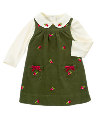 Toddler Girls Juniper Green Flower Embroidered Jumper Two-Piece Set by Gymboree
