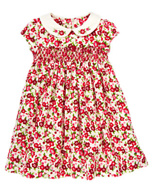 Toddler Girls Ivory Floral Flower Corduroy Dress by Gymboree