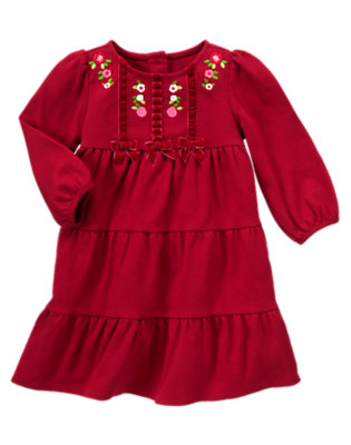 Toddler Girls Cranberry Red Flower Velvet Bow Dress by Gymboree