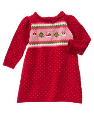 Cheery Red Fair Isle Owl Fair Isle Sweater Dress by Gymboree