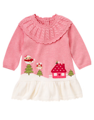 Toddler Girls Heathered Rose Owl Scenic Sweater Dress by Gymboree