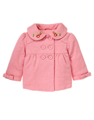 Toddler Girls Heathered Rose Flower Double Button Jacket by Gymboree