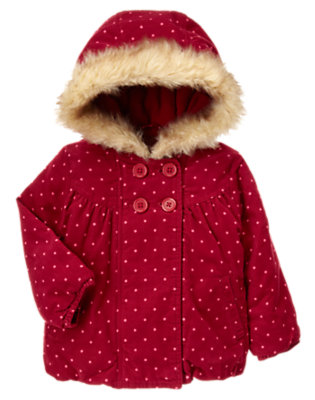 Toddler Girls Cranberry Red Dot Dot Corduroy Faux Fur Hooded Jacket by Gymboree