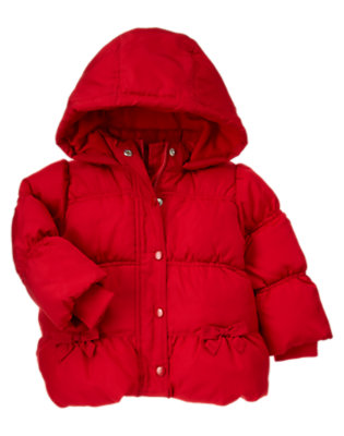 Toddler Girls Cheery Red Hooded Puffer Jacket by Gymboree