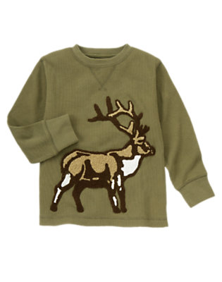 Dark Olive Green Elk Thermal Tee by Gymboree