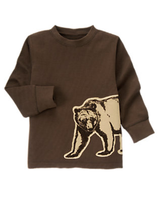 Chocolate Brown Bear Thermal Tee by Gymboree