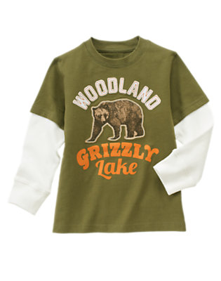 Dark Olive Green Grizzly Lake Double Sleeve Tee by Gymboree