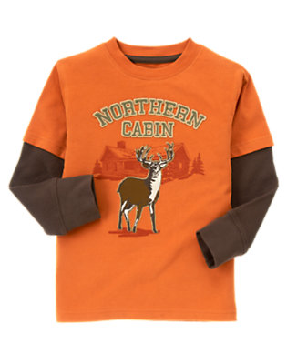 Orange Elk Cabin Double Sleeve Tee by Gymboree