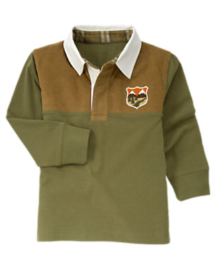 Boys Dark Olive Green Wilderness Patch Pieced Rugby Shirt by Gymboree