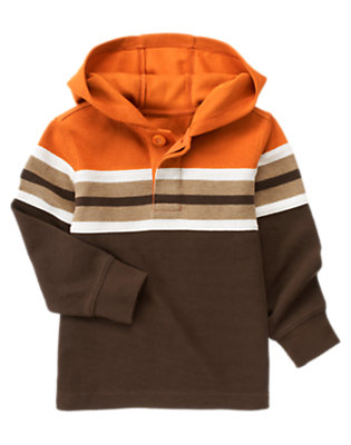 Boys Chocolate Brown Stripe Hooded Pullover by Gymboree