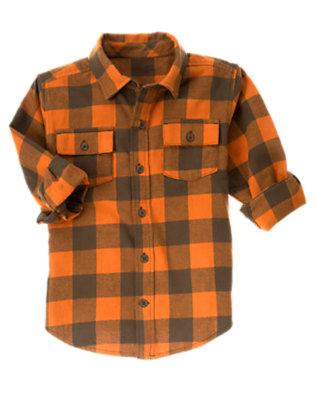 Orange Check Plaid Flannel Shirt by Gymboree