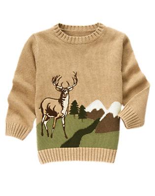 Tan Heather Elk Cabin Sweater by Gymboree