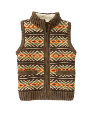 Boys Chocolate Brown Fair Isle Zip Sweater Vest by Gymboree