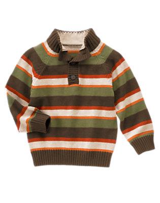Boys Dark Olive Green Stripe Stripe Pullover Sweater by Gymboree
