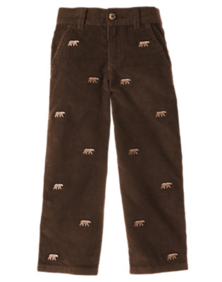 Boys Chocolate Brown Bear Embroidered Corduroy Pant by Gymboree