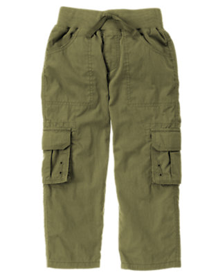 Dark Olive Green Lined Drawstring Cargo Pant by Gymboree