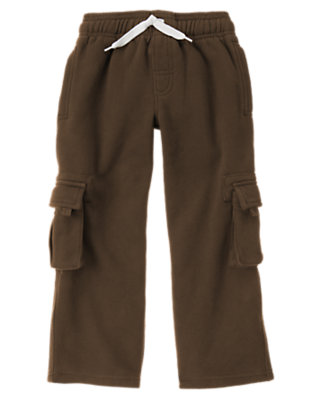 Boys Chocolate Brown Fleece Cargo Pant by Gymboree