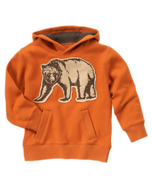 Boys Orange Grizzly Bear Hoodie by Gymboree